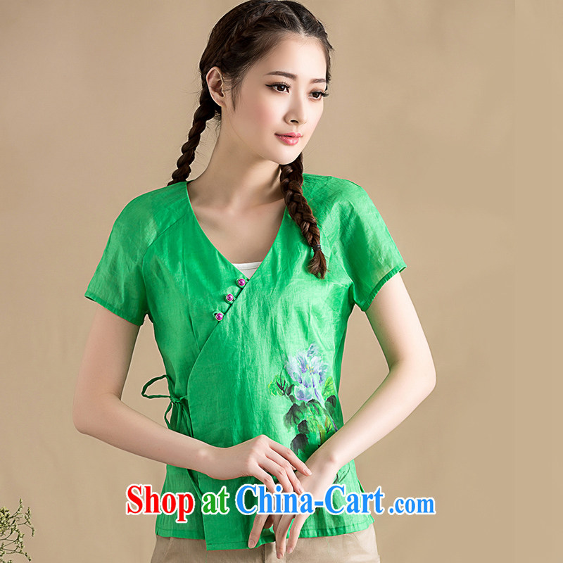 Seal, original cotton Ma 2015 spring new blouses arts idyllic small fresh hand-painted T shirt T-shirt girl Green S