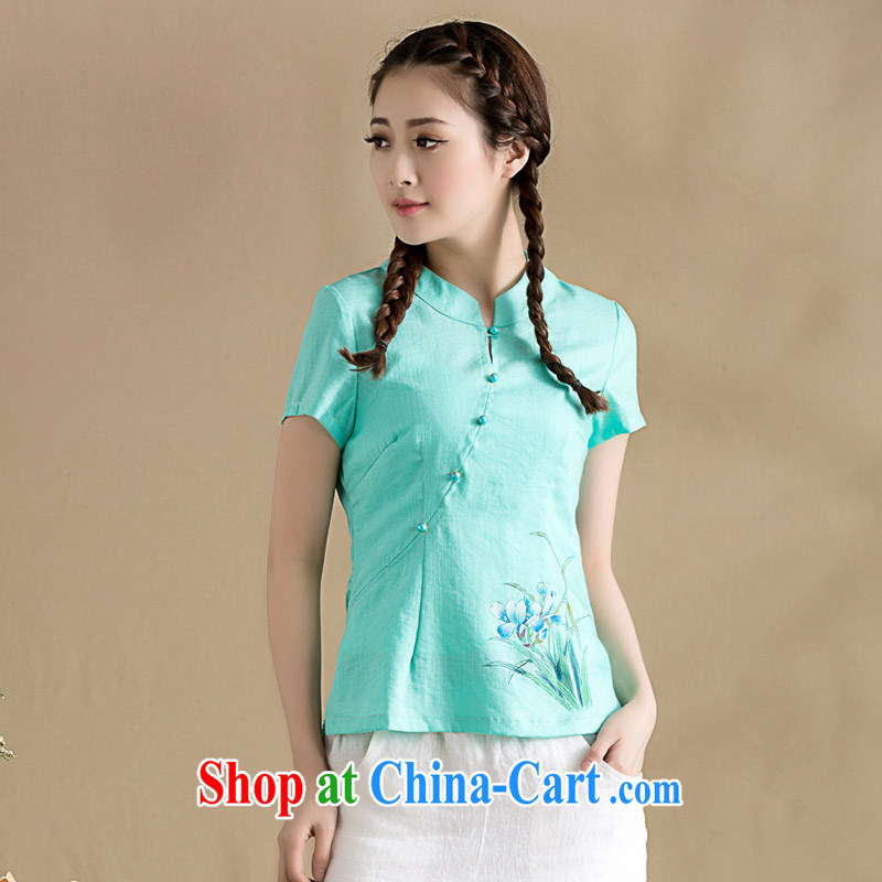 Seal, original cotton the cheongsam shirt is tight hand-painted Orchid blouses cultivating graphics thin Chinese T shirts female blue XXL