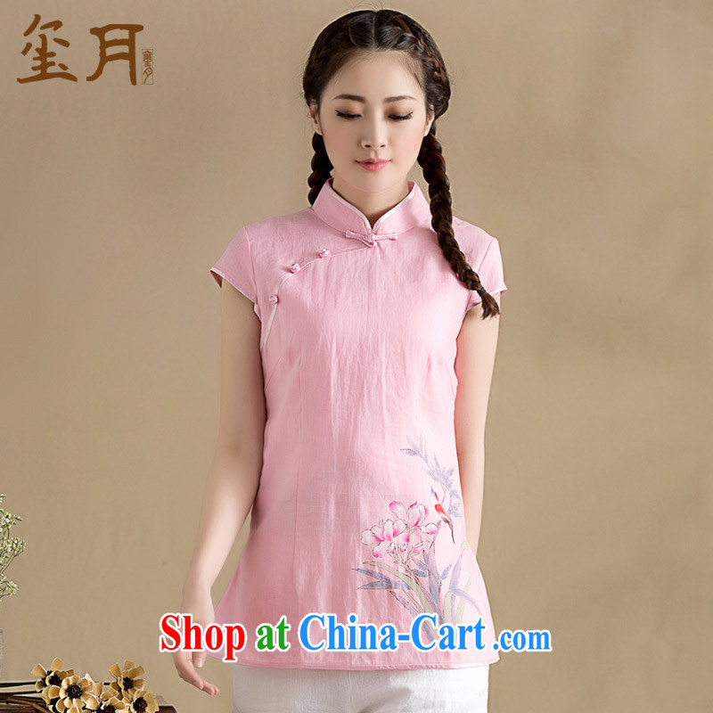 Seal, original cotton the minimalist art linen clothes dresses T-shirt hand-painted Han-chinese short-sleeve T-shirt girls pink L