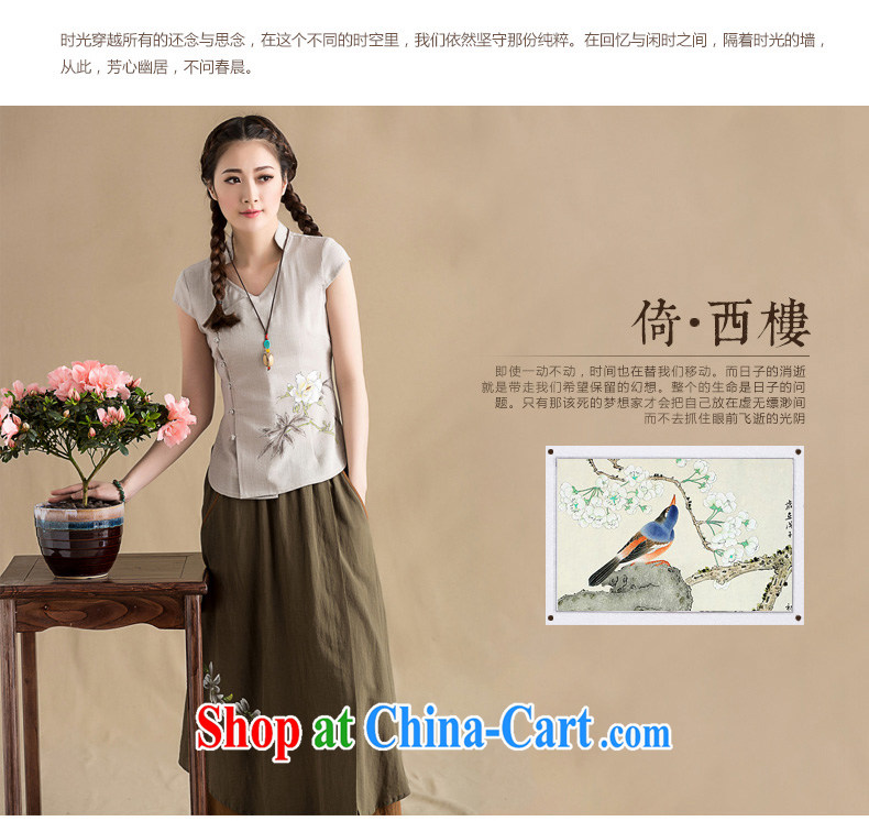 Seal 2015, spring and summer original cotton the cheongsam shirt female Chinese style, short-sleeved Chinese hand-painted blouses hand-painted gray S pictures, price, brand platters! Elections are good character, the national distribution, so why buy now enjoy more preferential! Health
