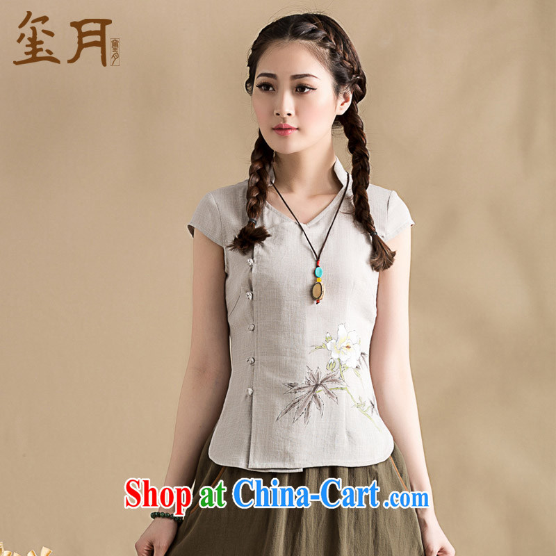 Seal 2015 in spring and summer the original cotton the cheongsam shirt female China wind, short-sleeved Chinese hand-painted blouses hand-painted gray S