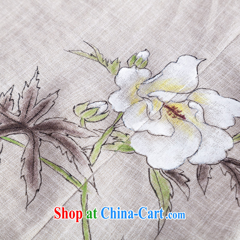 Seal 2015 in spring and summer the original cotton the cheongsam shirt female China wind, short-sleeved Chinese hand-painted blouses hand-painted gray S seal, Yin Yue, shopping on the Internet