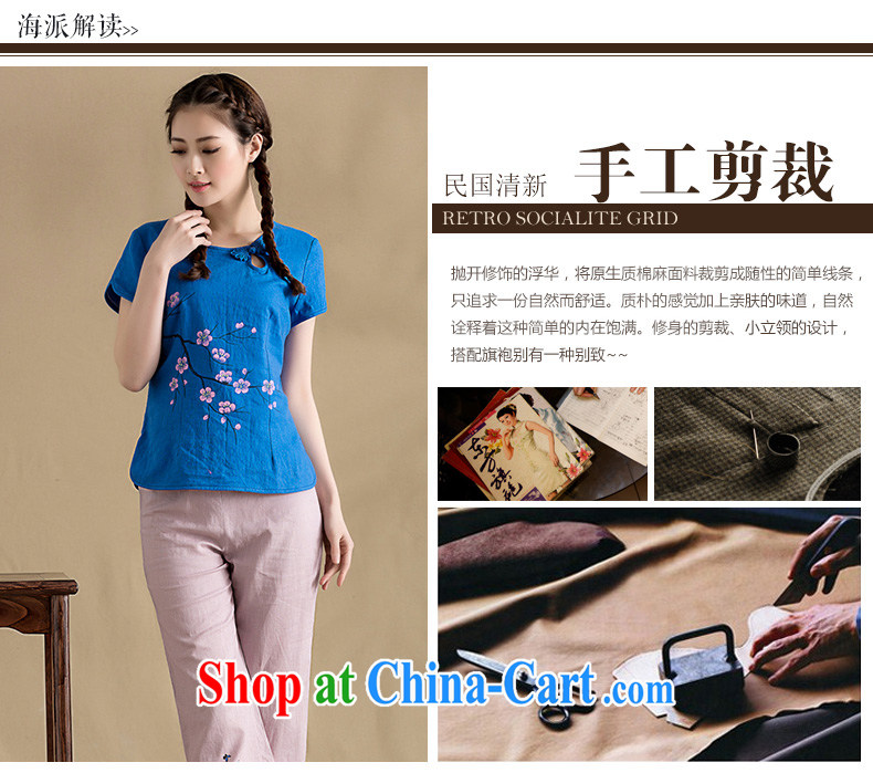 Yin Yue seal original cotton Ma hand-painted female T-shirt arts and cultural Ethnic Wind phillips-short-sleeved Chinese T-shirt ladies' spring and summer, hand-painted blue XXL pictures, price, brand platters! Elections are good character, the national distribution, so why buy now enjoy more preferential! Health