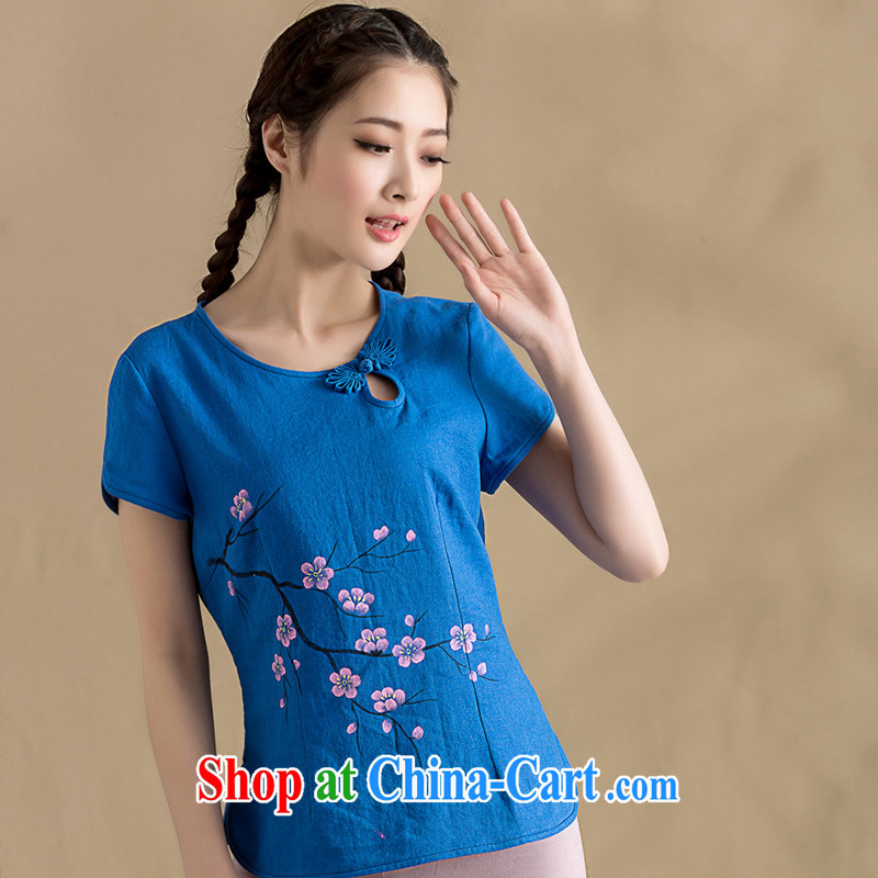 Yin Yue seal original cotton Ma hand-painted female T-shirt art ethnic wind Phillips short-sleeved Chinese T-shirt ladies' spring and summer, hand-painted blue XXL