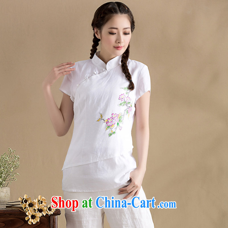 royal seal on the original cotton Ma blouses spring and summer arts stitching knocked color short-sleeved Chinese T-shirt hand-painted Chinese wind pink XXL