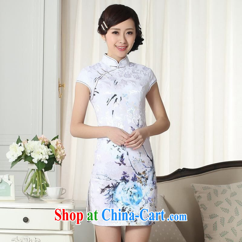 Jing contributed new summer elegance Chinese qipao Chinese graphics thin short cheongsam picture color 2 XL