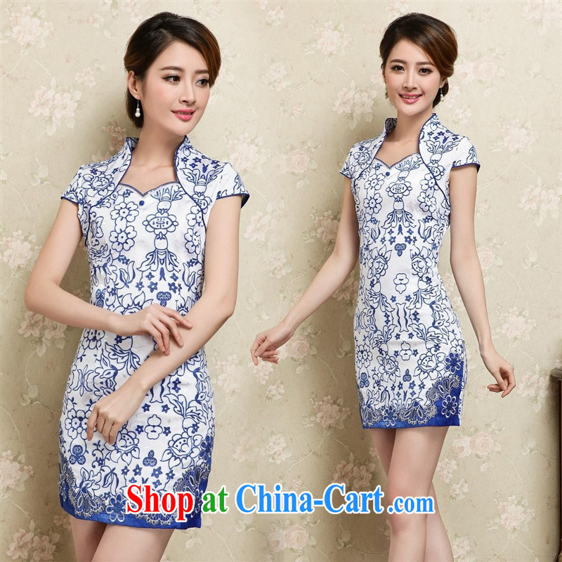 Ya-ting store new improved retro short cheongsam Chinese blue and white porcelain pattern cheongsam dress blue XXL