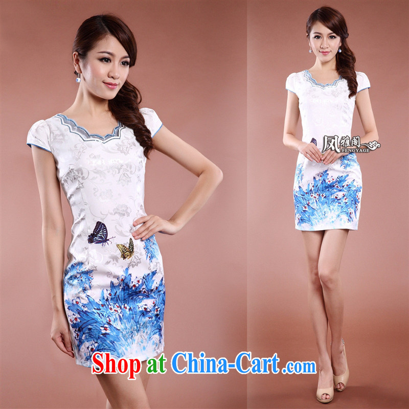 Ya-ting store Chinese qipao elegant qipao, long no's style improved cheongsam white XXL