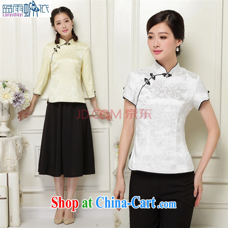 Ya-ting store 2014 Autumn Chinese Tang 7 sub-cuff improved cheongsam shirt Korea Campus girls with dresses green XXL