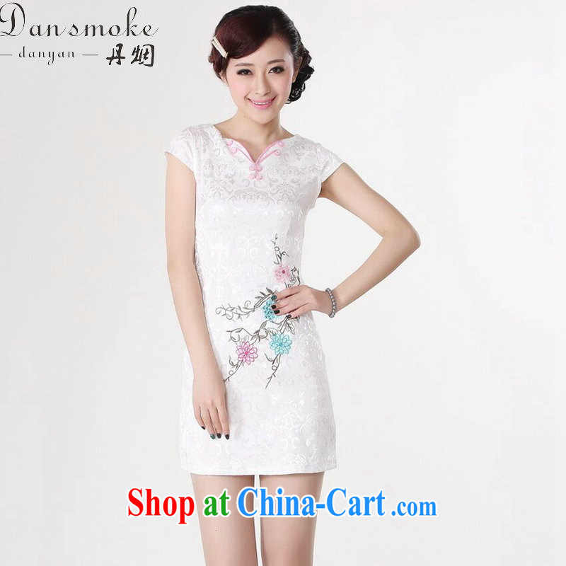 Dan smoke summer new Chinese cheongsam dress Chinese Antique improved V collar embroidered Chinese mini cotton short cheongsam white 2XL