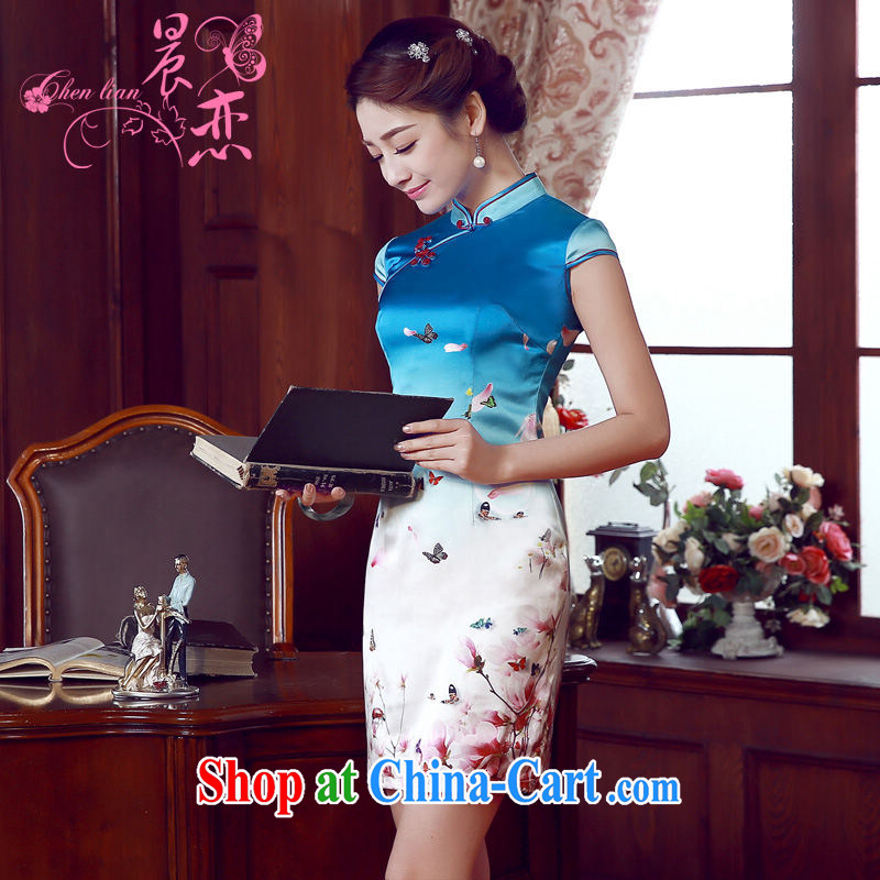 Morning dresses, new summer retro short improved stylish sauna silk silk Chinese qipao dress blue butterfly light blue XXL