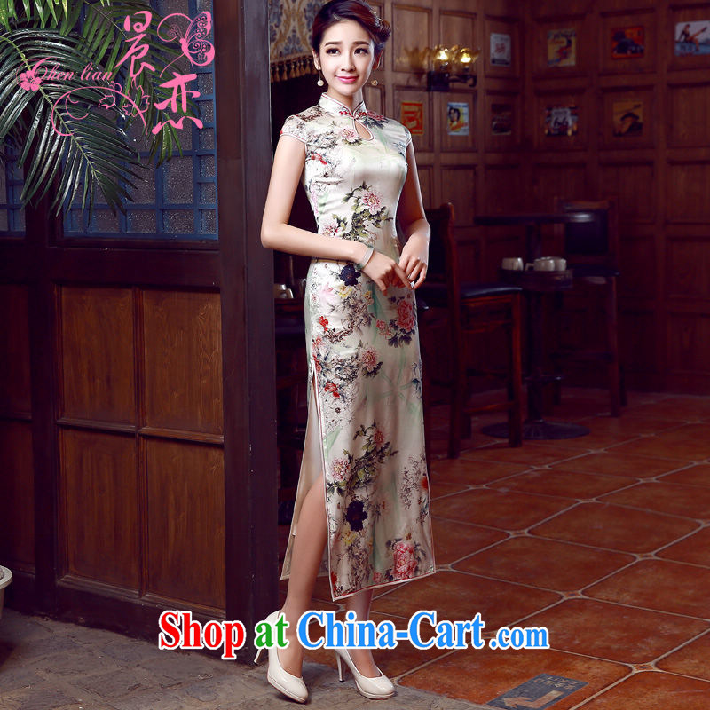 Morning dresses, new summer retro long improved stylish sauna silk silk Chinese qipao dress Peony Peony floral XL
