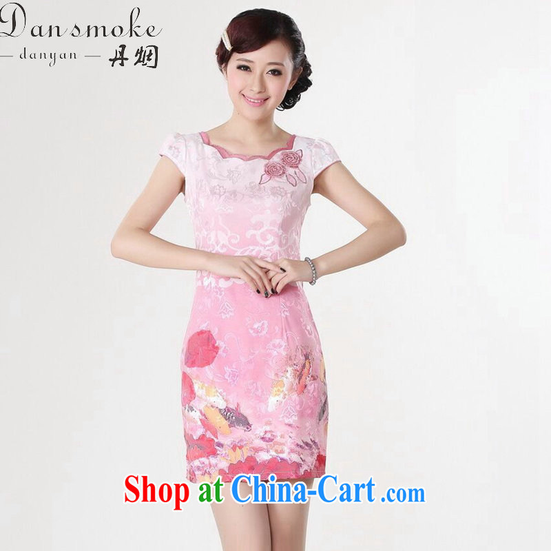 Dan smoke Chinese clothing summer new female Chinese qipao refined lace collar cotton hand-painted graphics thin Mini short cheongsam D 0210 2 XL