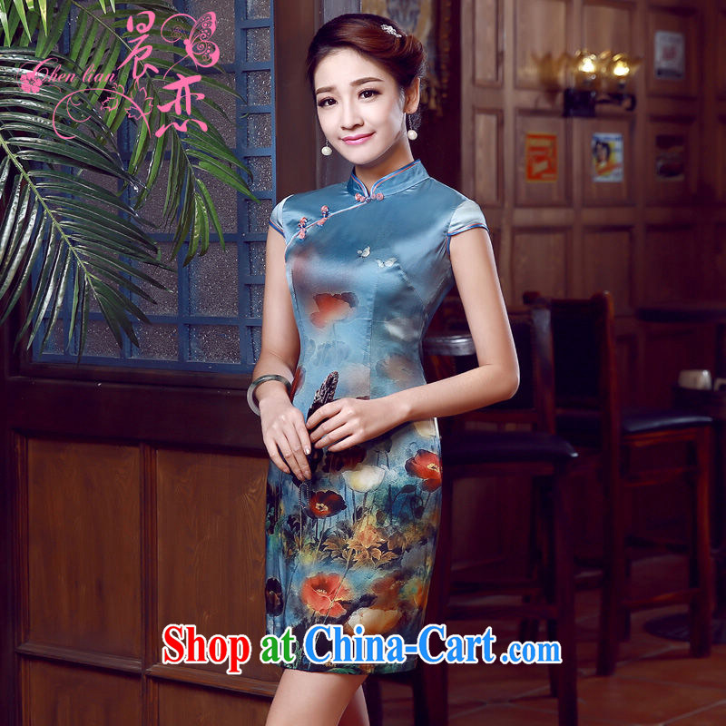 Morning dresses, new summer retro short improved stylish sauna silk silk Chinese qipao dress blue, blue XXL