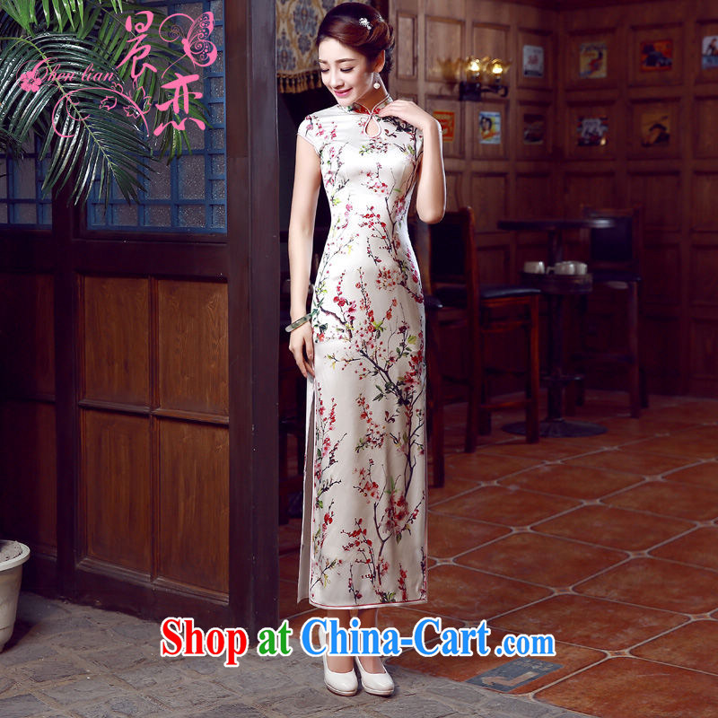 Morning dresses, new summer retro long improved stylish sauna silk silk Chinese qipao dress toner Mui Phillips, XL