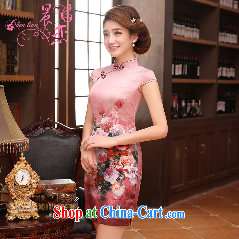 Morning, dresses new 2015 summer retro short improved stylish sauna silk silk Chinese qipao pink pink 155/S