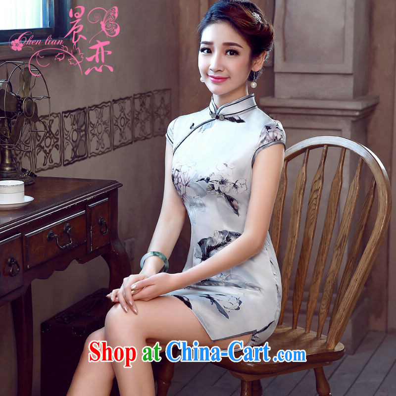 Morning, dresses new 2015 summer retro short improved stylish sauna silk silk Chinese qipao silver gray light gray 155/S