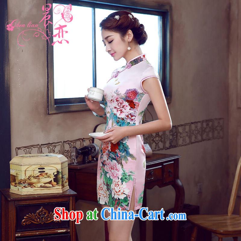 Morning, dresses new 2015 summer retro short improved stylish sauna silk silk Chinese qipao Peony pink M