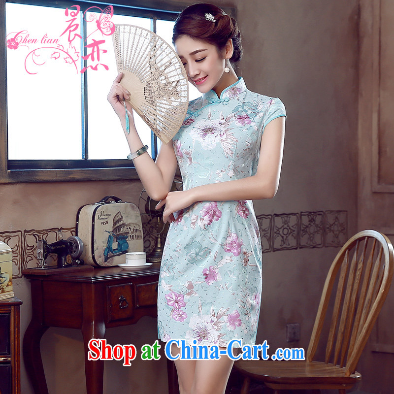 Morning love 2015 summer new stylish improved retro short cheongsam dress Chinese daily Pink Blue light blue XXL
