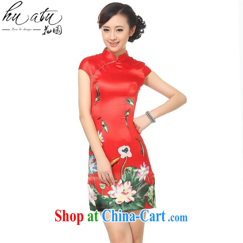 spend the summer outfit New female Chinese Chinese improved, for the Lotus damask stamp short cheongsam girls D 0183 - C red L