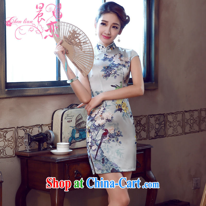 Morning, dresses new 2015 summer retro short improved stylish sauna silk silk Chinese qipao flower light gray 155/S