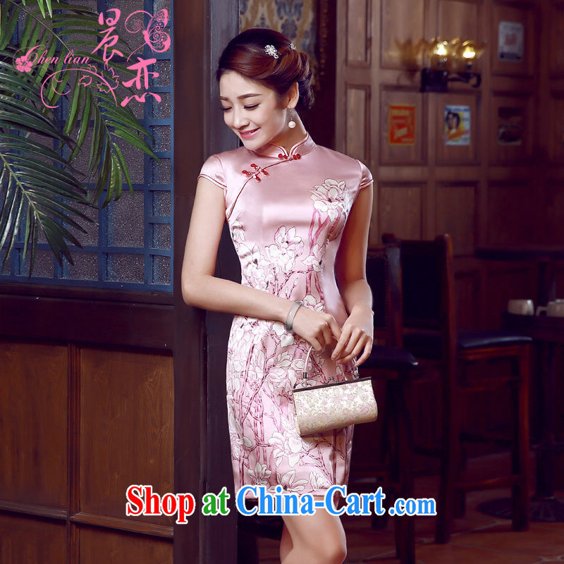 Morning dresses, new summer retro short improved stylish sauna silk silk Chinese qipao dress pink Magnolia pink M