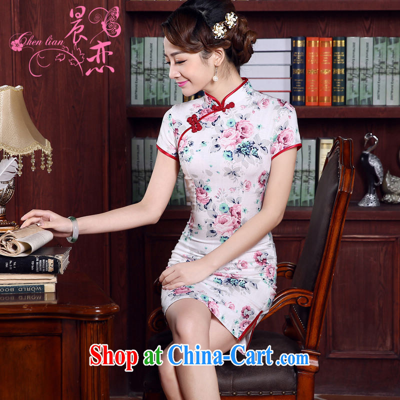 Morning love 2015 summer new stylish improved retro short cheongsam dress Chinese daily cotton Ma rose pink XL