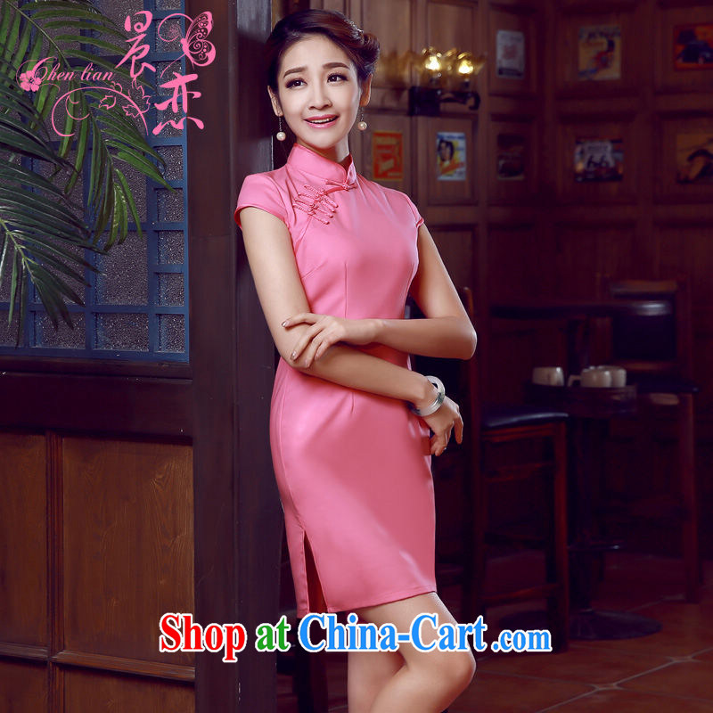 Morning love 2015 summer new stylish improved retro short cheongsam dress Chinese daily pixel color solid color pink L