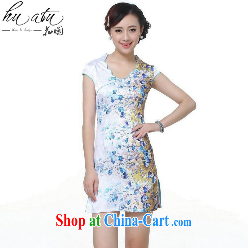 Dan smoke cheongsam Chinese summer, new female Chinese qipao improved retro lace up collar hand-painted cotton short cheongsam - A blue 2 XL