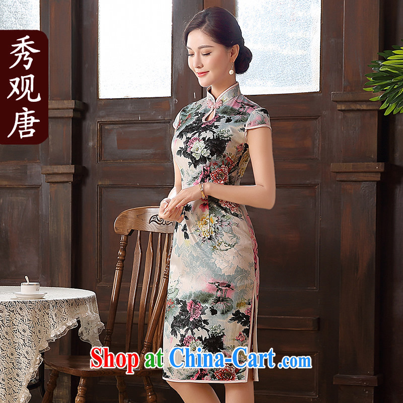 The CYD HO Kwun Tong' color once and for all 2015 summer new improved fashion, long, Retro cheongsam dress QD 5103 fancy XXL