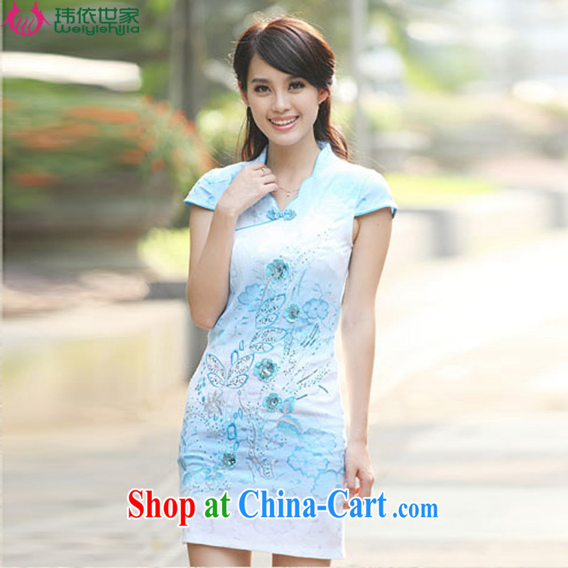 According to Wei family 2015 spring and summer with new improved Stylish retro dresses cheongsam girls blue XL