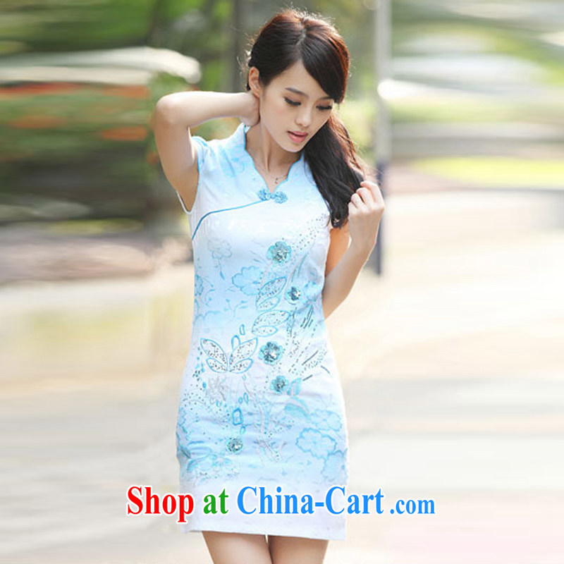 According to Wei family 2015 spring and summer with new, improved and Stylish retro dresses cheongsam girls blue XL, Wei-wei to family, and shopping on the Internet