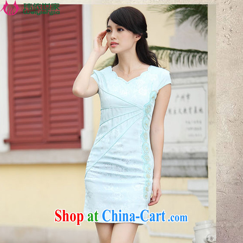 According to Wei family 2015 spring and summer with new Stylish retro improved V short-sleeved cultivating the dresses cheongsam girls blue S