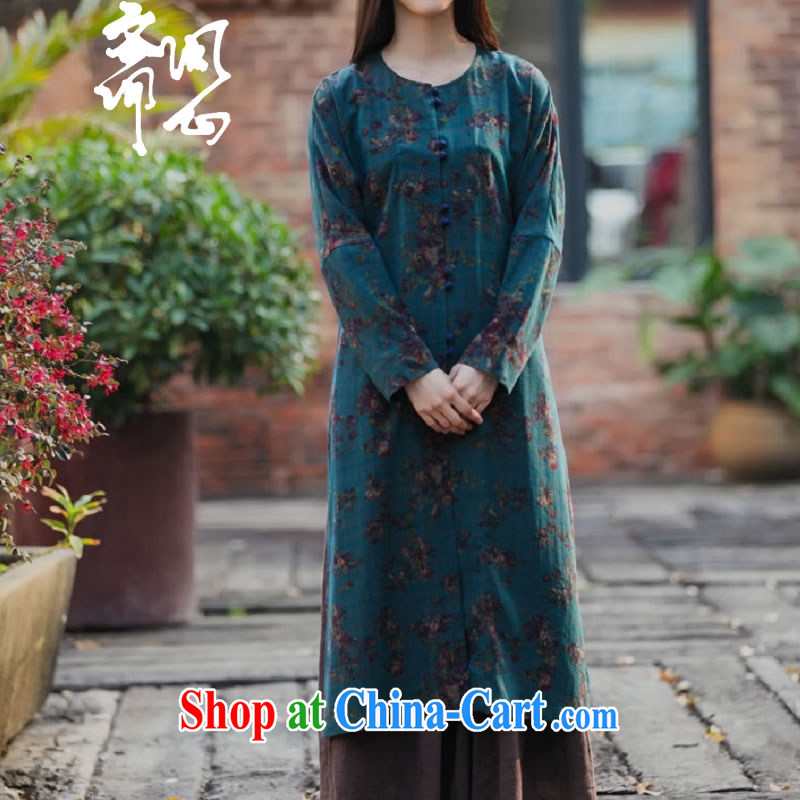 Ask a vegetarian _Yue heart health female spring and summer new upscale scent cloud yarn long jacket Chinese long, Grand Prix, 1873 blue-green bottom floral L
