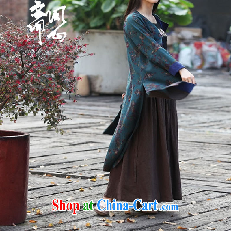 Q- Shinsaibashi Hyatt Regency elections as soon as possible and girls spring and summer new upscale Hong Kong cloud yarn long jacket Chinese long, Grand Prix, 1873 blue-green bottom floral L, ask heart ID al-Fitr, shopping on the Internet