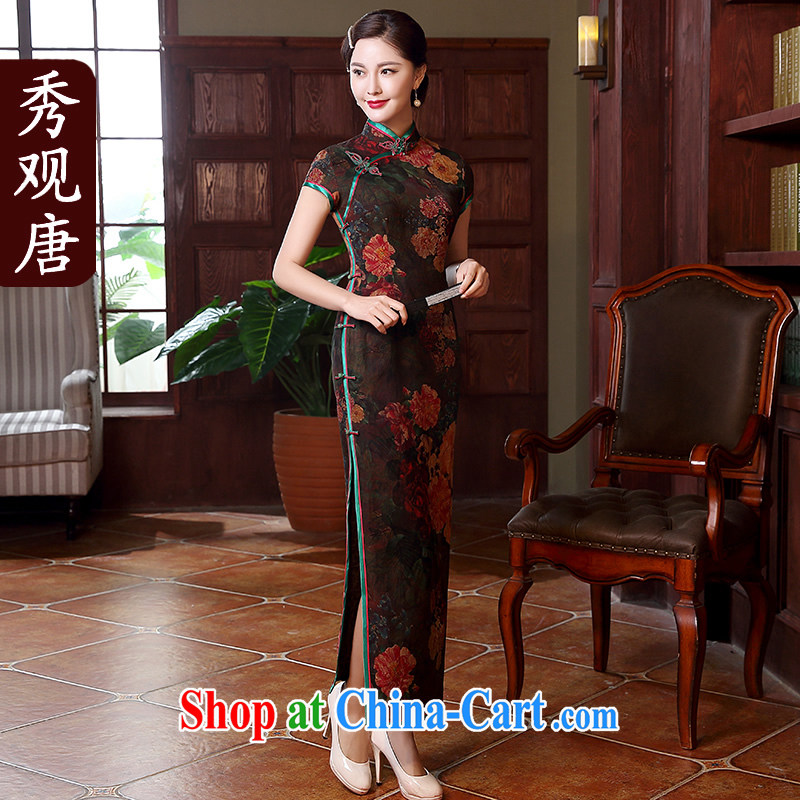 The CYD HO Kwun Tong' spending and gardenias 2015 summer new Hong Kong cloud yarn long Silk Cheongsam dress high QD 5118 fancy L