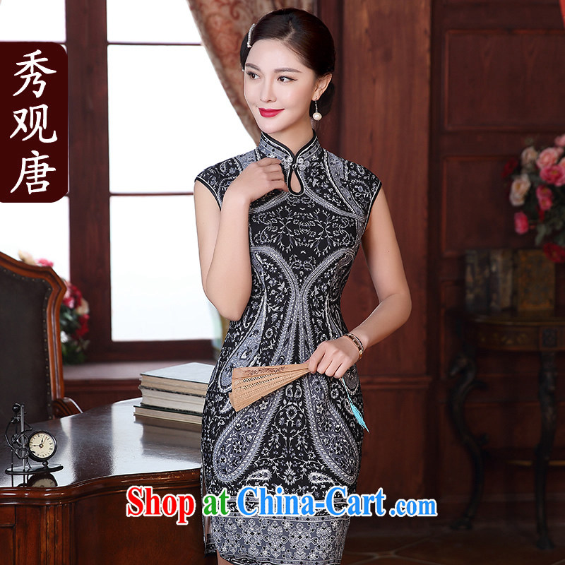 The CYD HO Kwun Tong' Starry Night summer 2015 new sexy cheongsam dress daily improved retro dresses QD 5124 fancy XL