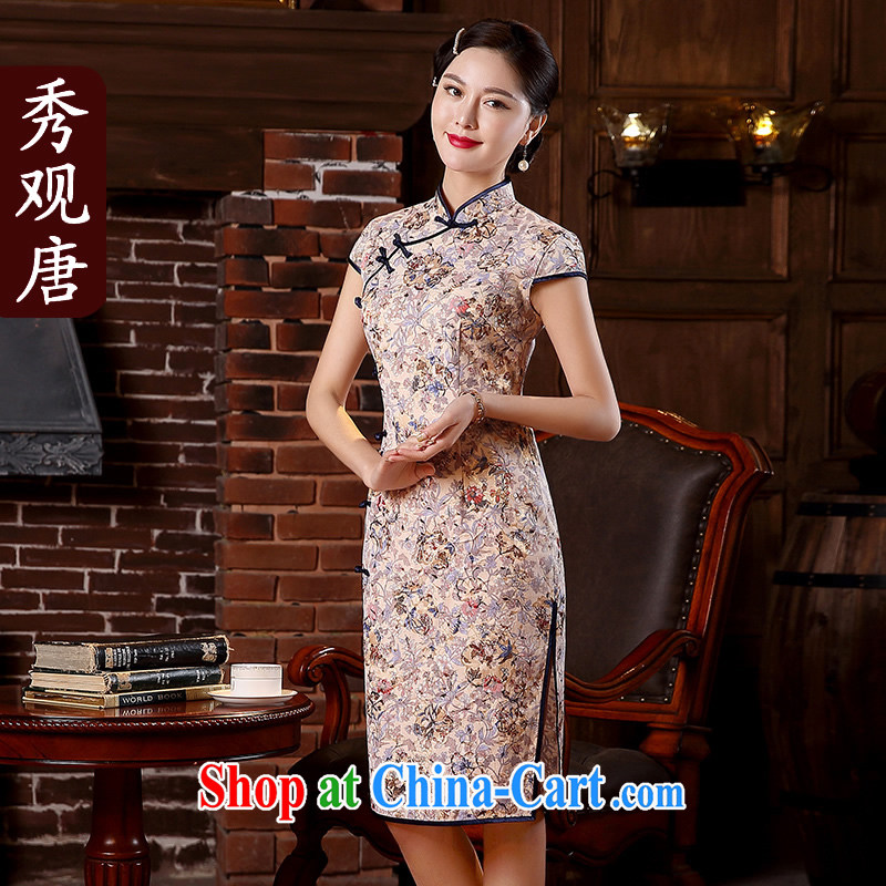 The CYD HO Kwun Tong Jin, spent summer 2015 new stylish floral cheongsam improved retro dresses QD 5110 fancy XL