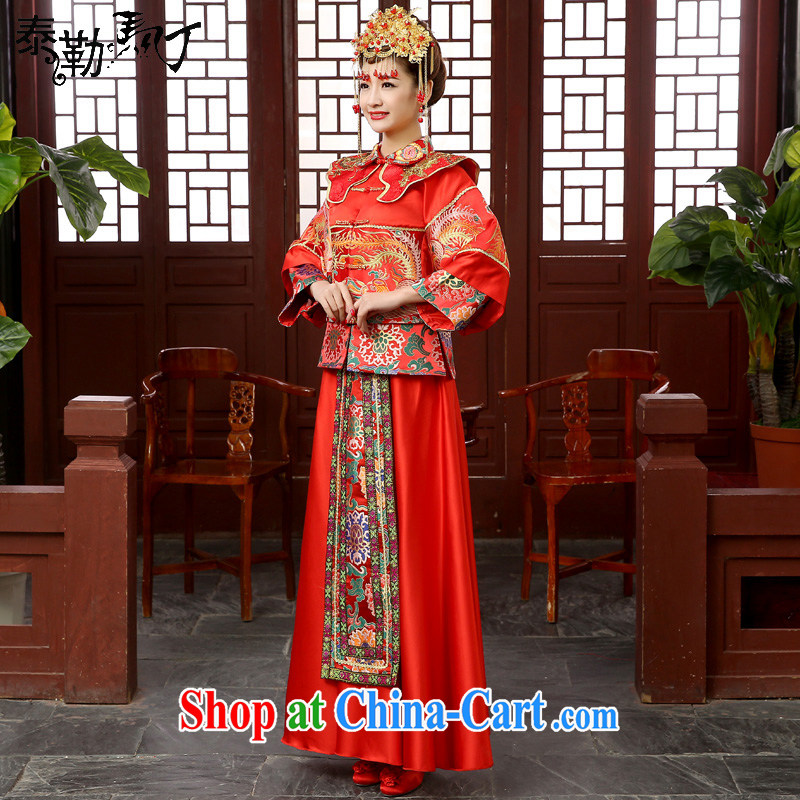 Show reel Service Bridal Chinese wedding dress red bows service married Yi retro dresses show kimono dragon-use serving the head-dress XXL