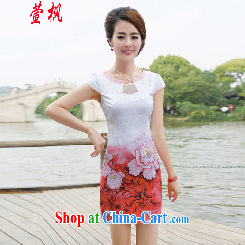XUAN FENG 2014 new summer Korean Beauty half sleeve Princess stamp duty for China wind cheongsam stylish dresses pink peony flowers XXL