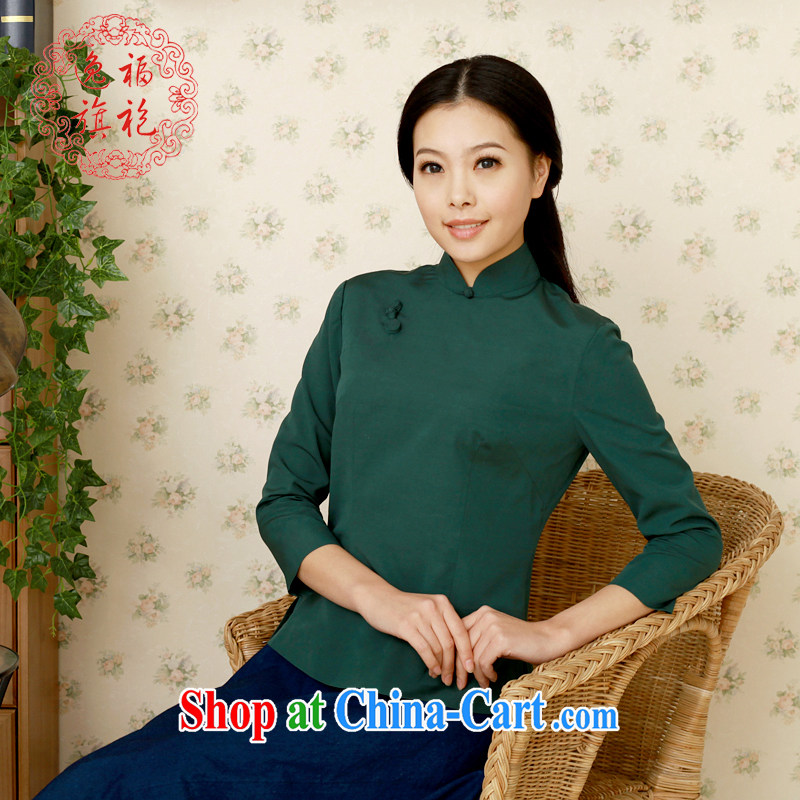 once and for all, Tang with T-shirt, improved the Hon Michael Mak Kwok-fung female Chinese Antique cotton Ma student kit spring dark T-shirt tailored 10 day shipping