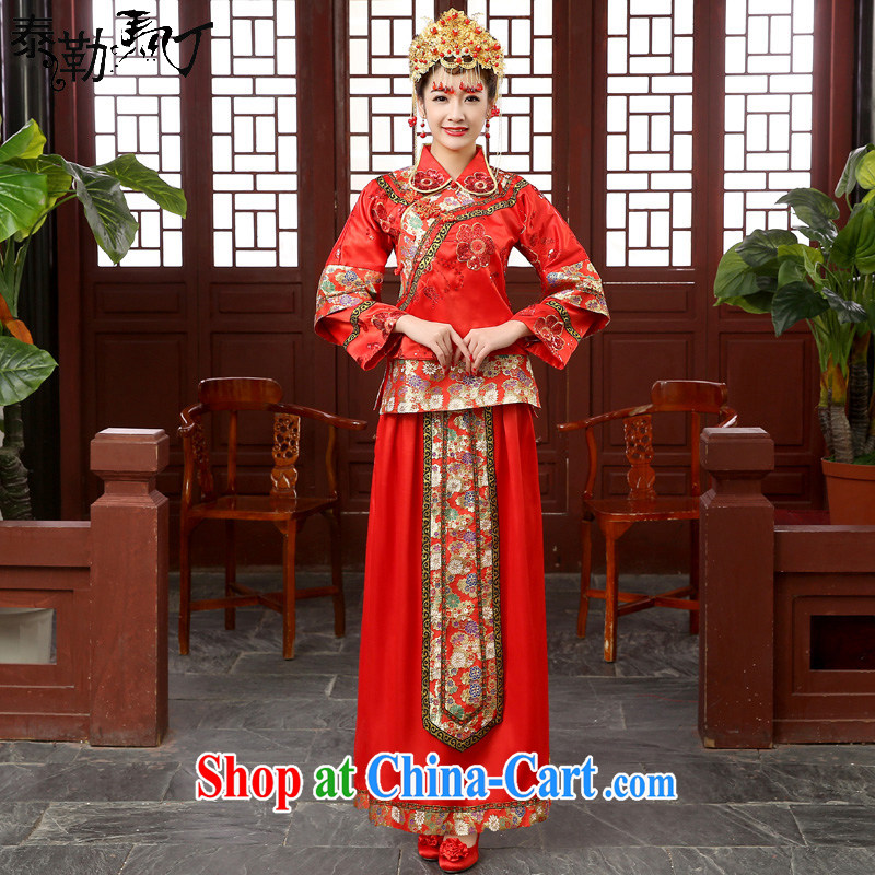 Marriages Chinese Dress long-sleeved retro dresses serving toast, Sau Wo service kimono hi service costumes winter red S