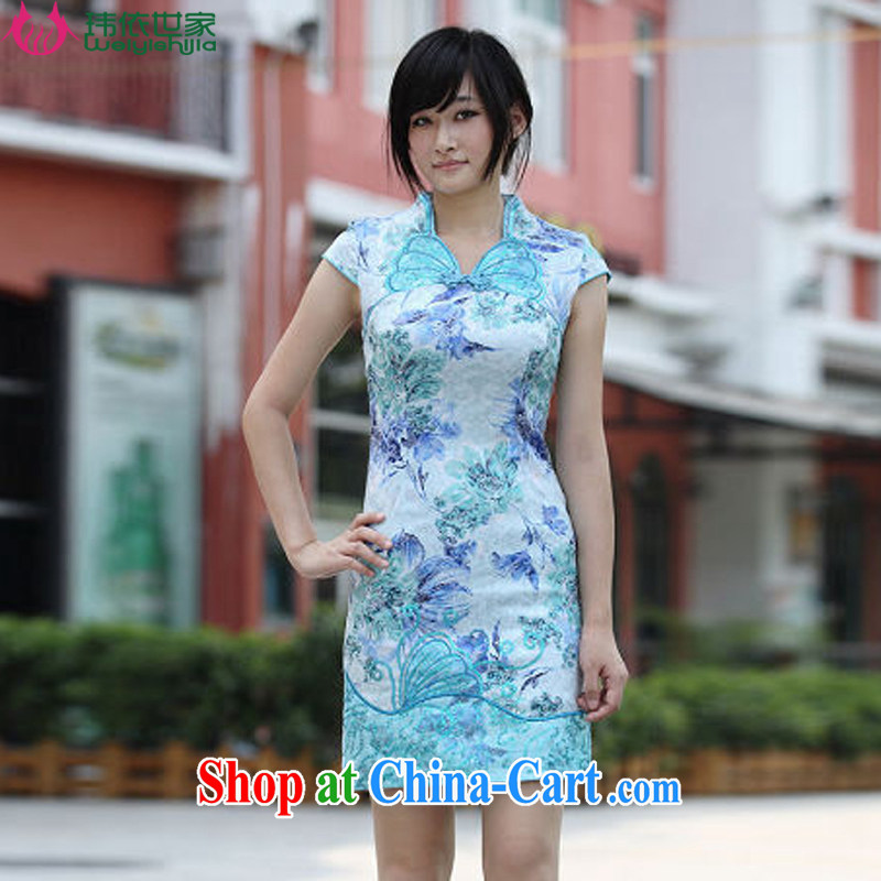 According to Wei family 2015 spring and summer with new colorful Butterfly Dance cotton butterfly embroidery cheongsam exquisite female blue XL