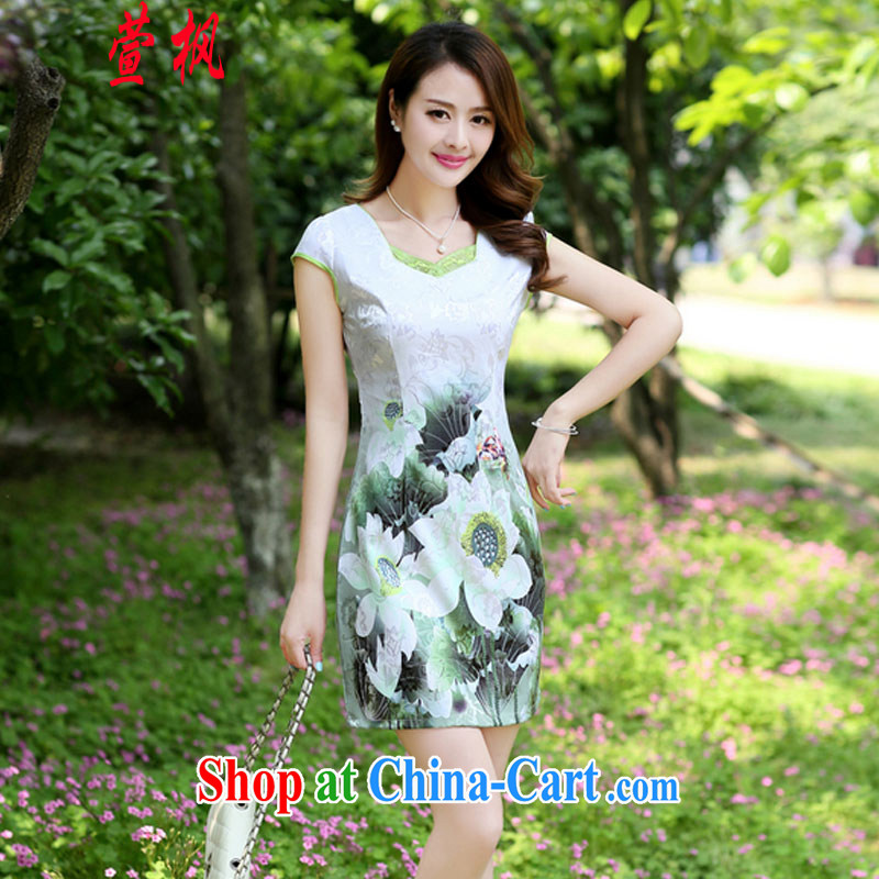 XUAN FENG UUIT/TAPP 2015 new summer party for cultivating half sleeve fine embroidered Chinese style qipao fashionable dresses Green lotus XXL