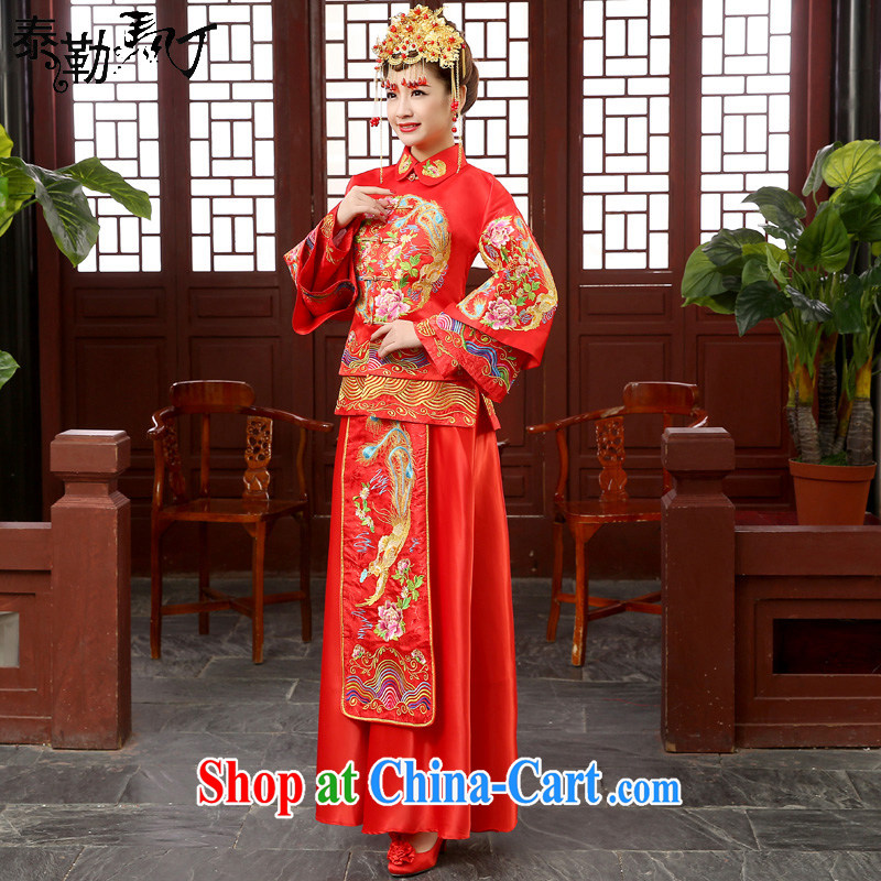 Show reel Service Bridal wedding dresses Chinese bows clothing retro dresses embroidery Sau kimono married Yi hi service use phoenix red XXL