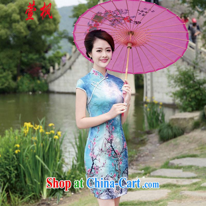 XUAN FENG 2015 new summer edition Korea cultivating Chinese collar half sleeve cheongsam stylish stamp dresses Phillips-head XXL