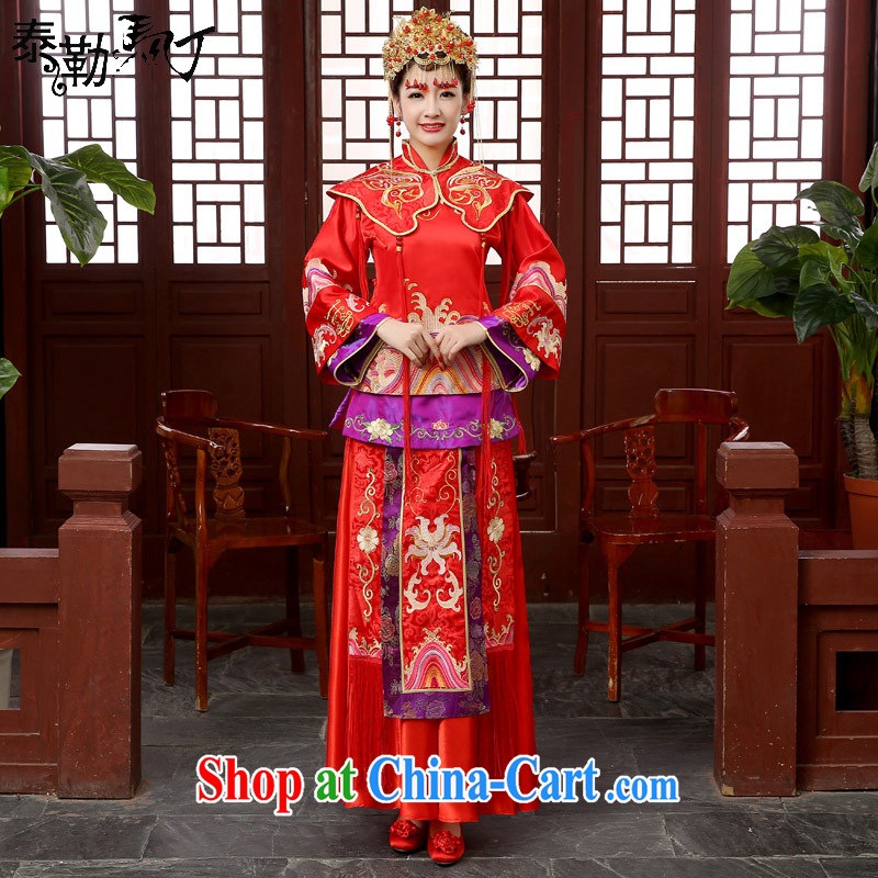 bridal show groups serving Chinese Dress toast clothing retro dresses show kimono entered marriage Yi dragon-use serving spring red XXL