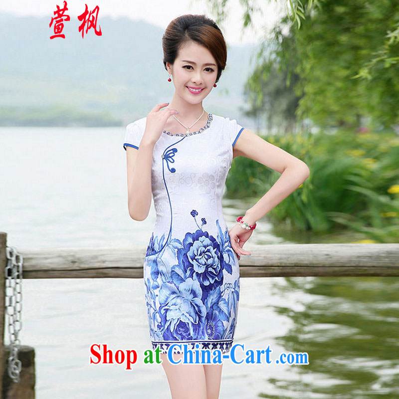 XUAN FENG 2015 new summer dresses Korean beauty with half sleeve fine embroidery China wind cheongsam stylish dress blue floral XXL