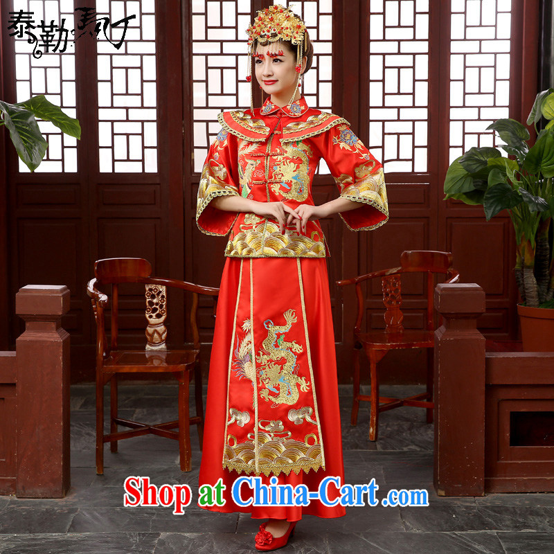 Show reel service embroidery Chinese wedding dress bridal toast serving Phoenix and retro dresses wedding service serving Southern costumes red XXL