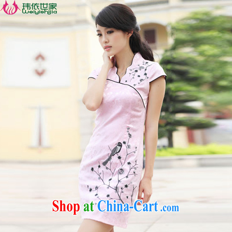 According to Wei family 2015 spring and summer with new embroidery improved sexy dress retro fashion cheongsam girls pink XL